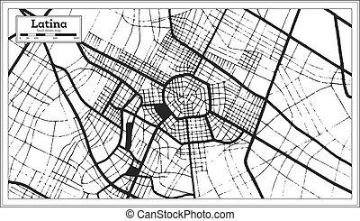 ville, style., carte, latina, contour, couleur, retro, italie, noir, blanc, map.