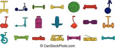 ville, style, contour, ensemble, couleur, transport, icône