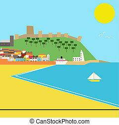 ville, style, deco, bord mer, vecteur, paysage