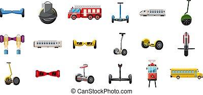 ville, style, ensemble, dessin animé, transport, icône