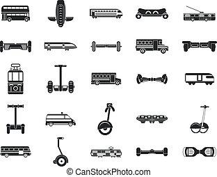 ville, style, ensemble, simple, transport, icône