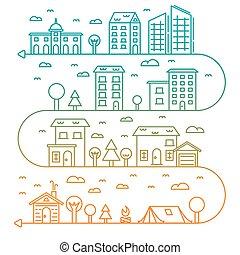 ville, style, graphique, nuages, linéaire, bâtiments, -, illustration, vecteur, conception, arbres, gabarit