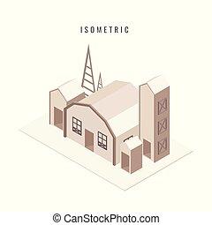 ville, style, isometric., bâtiments, symbole, isolé, arrière-plan., vecteur, blanc, icône