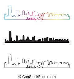 ville, style, linéaire, arc-en-ciel, horizon, jersey