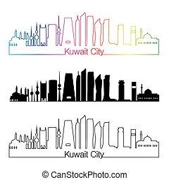 ville, style, linéaire, arc-en-ciel, koweït, v2, horizon