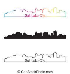 ville, style, linéaire, arc-en-ciel, lac, horizon, sel