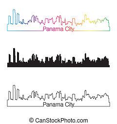 ville, style, linéaire, arc-en-ciel, panama, horizon