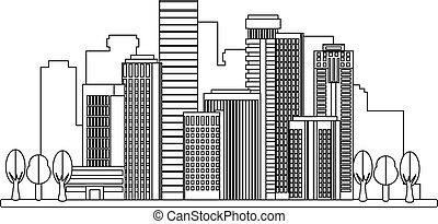 ville, style, linéaire, illustration
