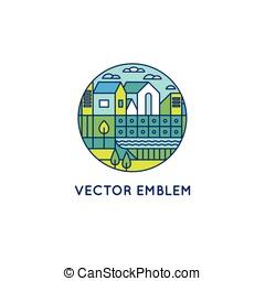 ville, style, linéaire, illustration, vecteur, branché, paysage