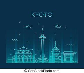 ville, style, linéaire, kyoto, vecteur, japon, horizon