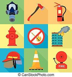 ville, style, plat, ensemble, pompier, icône