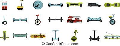 ville, style, plat, ensemble, transport, icône