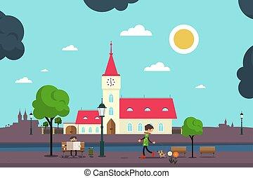 ville, style, plat, résumé, parc, illustration, vecteur, conception, européen