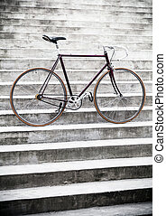 ville, style, vélo, escalier, vendange, route