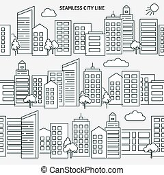 ville, style, versions, seamless, horizon, ligne mince