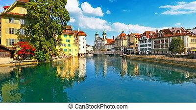 ville, suisse, vieille architecture, luzerne