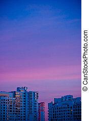 ville, sunset., bâtiments