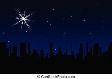 ville, sur, étoile, noël