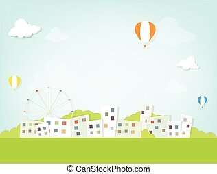 ville, sur, ballons, air chaud