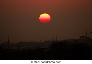 ville, sur, coucher soleil