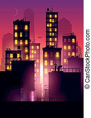 ville, sur, coucher soleil, lueur