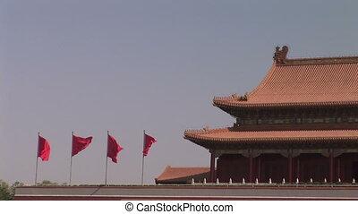 ville, sur, drapeaux vol, interdit, rouges