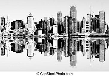 ville, sur, hudson, horizon, york, nouveau, rivière