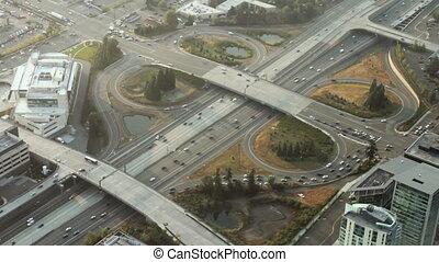 ville, sur, rue, autoroute, ponts