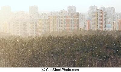 ville, sur, tempête neige