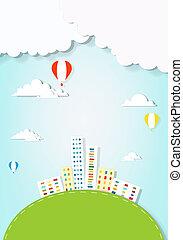ville, sur, voler, ballons, air