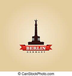 ville, symbole, illustration, berlin, vecteur, allemagne