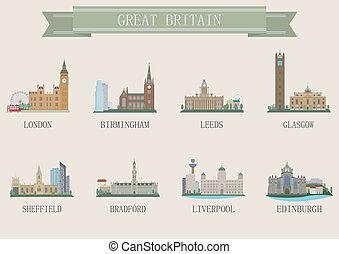 ville, symbole., royaume-uni
