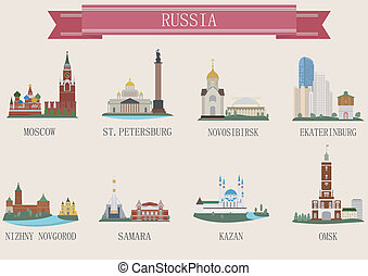 ville, symbole., russie