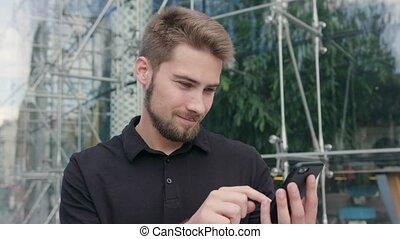 ville, téléphone, homme, barbe, utilisation
