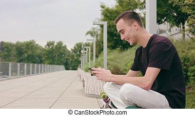 ville, téléphone, homme, utilisation