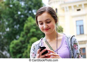 ville, téléphone portable, musique écouter, girl