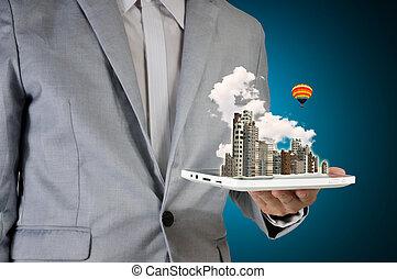 ville, tablette, écran, tenue, toucher, homme