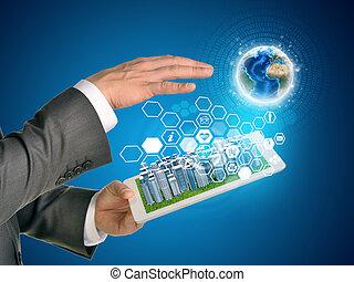 ville, tablette, icones affaires, screen., hexagones, informatique, pc., mains, toucher, utilisation, la terre, homme