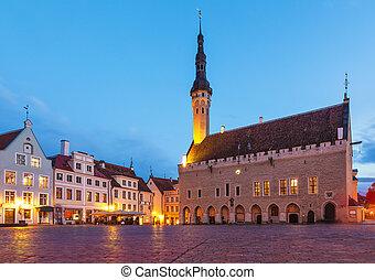 ville, tallinn, carrée, salle, estonie