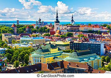 ville, tallinn, vieux, estonie