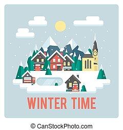 ville, temps, hiver, montagnes, jour