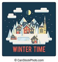 ville, temps, hiver, montagnes, nuit
