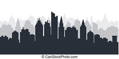 ville, terre, silhouette, paysage., skyscrapers., élevé, panoramique, horizon, industriel, scape., en ville, horizontal, paysage