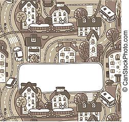ville, texte, salutation, fenêtre, modèle, carte