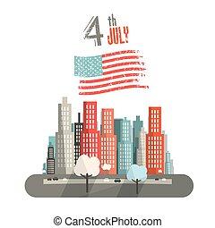 ville, th, titre, résumé, drapeau, américain, vecteur, 4, fond, juillet, blanc, illustration.