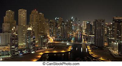 ville, time., dubai, nuit