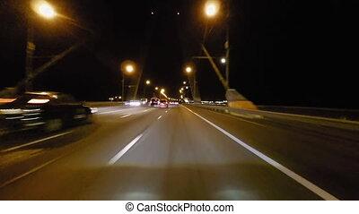 ville, timelapse, conduite, rues, élevé, nuit, vitesse