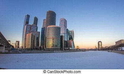 ville, timelapse., hiver, moscou, nuit, jour