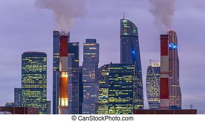 ville, timelapse., hiver, moscou, nuit, jour, gratte-ciel