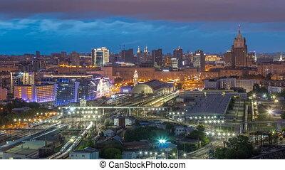 ville, timelapse, kiev, moderne, moscou, panoramique, station, nuit, ferroviaire, russie, jour, vue